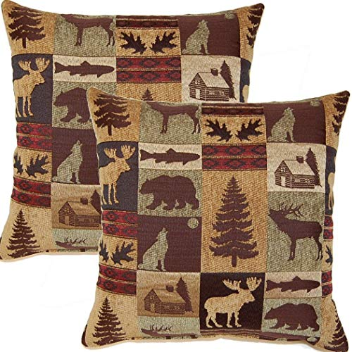 2 Piece 17x17 Brown Nature Theme Throw Pillow, Beautiful Cabin Lodge Pattern Sofa Pillow, Mountain Animals Howling Wolf, Bear, Moose, Trees Print, Hunting Wild Cottage Design, Square Shape, Polyester (Throw Pillows Lodge)