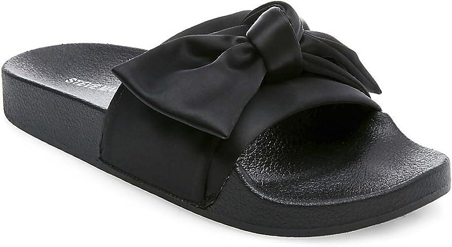 50% rebajado grandes ofertas diseñador nuevo y usado Steve Madden Women's Silky Flat Sandal, Black Satin, 7 UK: Amazon ...