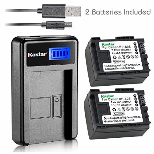 Kastar Battery 2 Pack & Slim LCD USB Charger for Canon BP-808 Canon VIXIA HF G10 G20 M30 M31 M32 M40 M41 M300 M400 S10 S11 S20 S21 S30 S100 (S30 Usb)