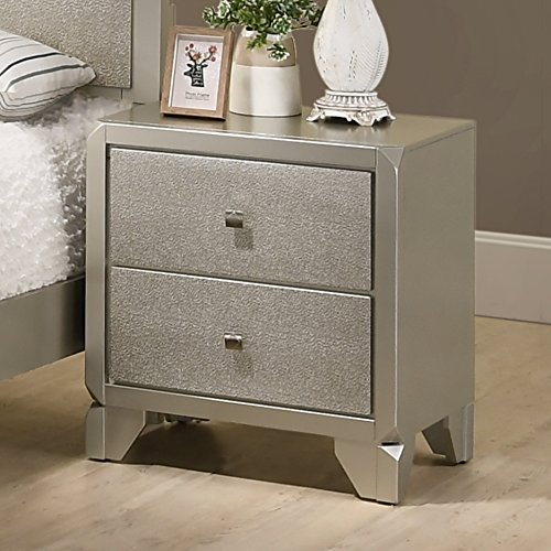 """Price comparison product image Roundhill Furniture B480N Keila Contemporary 2 Drawer Wood Nightstand,  23.63"""" W x 17.37"""" D x 26"""" H,  Champagne Silver"""