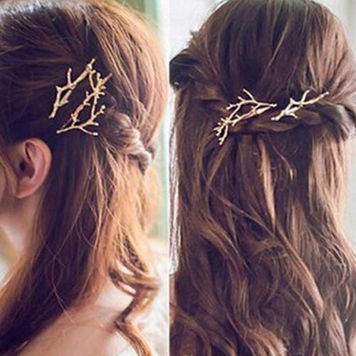 BLagenertJ 1 Pc Vintage Antler Deadwood Hairpin Bobby Pin Hair Clip Accessory Hairstyle Tool size 3.9cm by 6.3cm (Gold)
