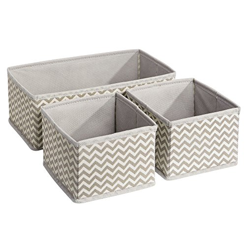 InterDesign Aldo Fabric Dresser drawer and Closet Storage Organizer for Underwear, Socks, Bras, Tights, Leggings - Set of 3, Chevron 4 Drawer Dresser Honey