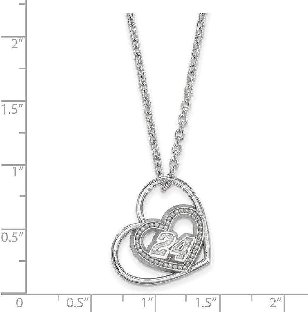 Lex /& Lu LogoArt Sterling Silver Pierced Heart Pattern w//Driver #24 Pendantw//18 Chain