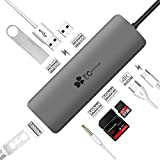 USB C Hub EC Technology 9 in 1 Multiport USB-C Adapter 3.1 with Type C Charging Port, 3.5mm Audio, 4K HDMI, SD/TF Card Reader, 3 USB 3.0 Ports, 1000M Ethernet Port for MacBook Pro, Chromebook more