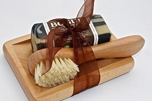 BOGUE Luxury Goat Milk Soap Gift Set- N°21 Moisturizing 'Chiefs Peak' Blend Detoxifying Activated Charcoal, Soothing Cedarwood, Uplifting Rosemary & Frankincense with Kaolin Clay. Facial Brush & Tray