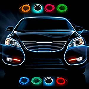 1 Meter Flexible Car Decorative Neon Light 2.3mm EL Wire Rope with Car Light Inverter , Blue