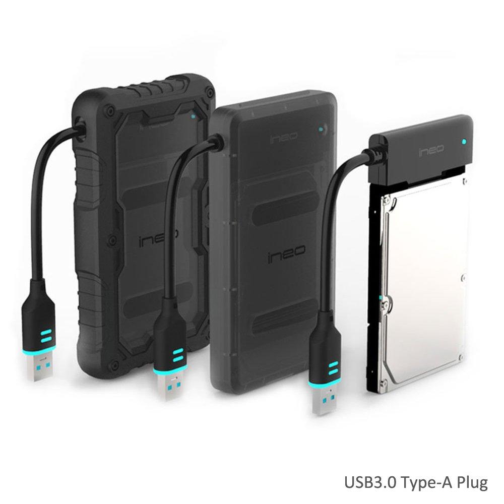 USB 3.0 to SATA III Carcasa para disco duro 2.5' externo - ElecGear A prueba de golpes Impermeable resistente al agua IP66 Adaptador Enclosure para HDD SSD Hard Drive with UASP iNEO T2571
