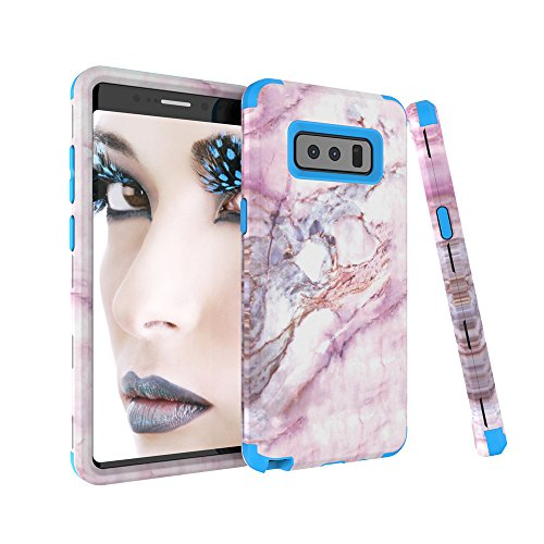 Galaxy Note 8 Case, SUMOON [Marble Series][Drop Protection] Hybrid Heavy Duty Three Layer Verge Shockproof Full-Body Protective Armor Defender Case for Samsung Galaxy Note 8 (Blue)