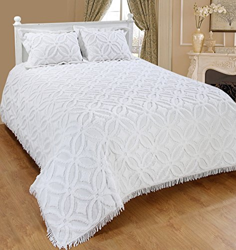 Saral Home Fashions Grace Chenille Bedspread with Sham, King, White (Bedspread-118x118 inches, Sham-26x20+2 -