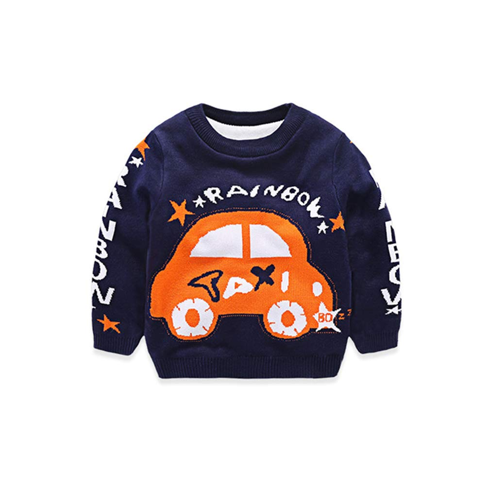 AIKSSOO Toddlers Little Boys Outfit Tops Cartoon Taxi Pattern Thick Sweater Size 110 (Navy)