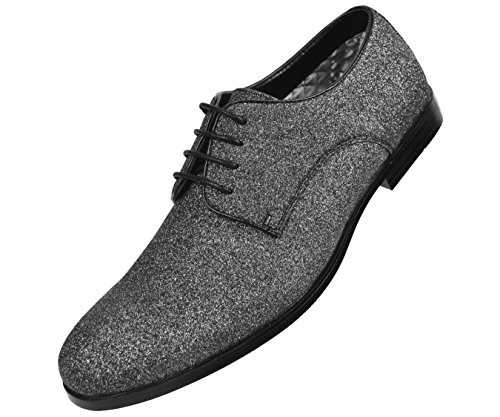 Amali Heren Metallic Glitter Lace Up Oxford Smoking Jurk Schoenstijl Zwart Glans