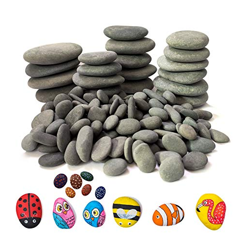 Lifetop 120PCS Painting Rocks , DIY Rocks Flat & Smooth Kindness Rocks for Arts, Crafts, Decoration , Medium/Small/Tiny Rocks for Painting ,Hand Picked for Painting Rocks