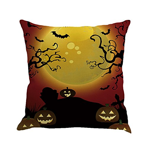 Seaintheson Holiday Throw Pillow Covers, Happy Halloween Pillowcases Linen Sofa Cushion Cover Sofa Indoor Outdoor Home Decorative Square 18 X 18 Inches]()