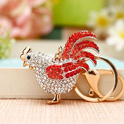 JewelBeauty Rooster Sparkling Czech Rhinestone Keychain Crystal Handbag Charm Key Chain (Red) (Rhinestone Rooster)