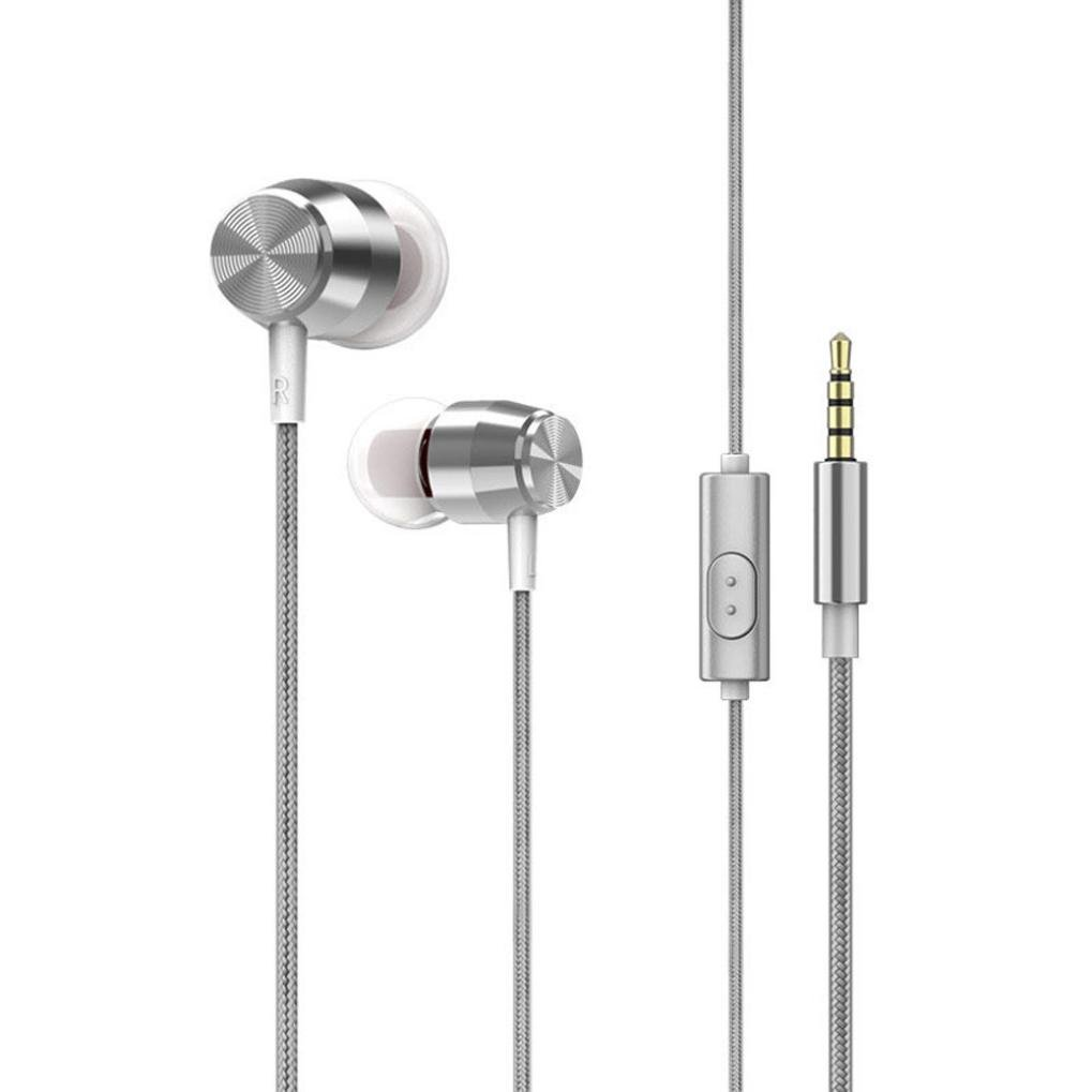 Sunfei 3.5mm With Microphone Bass Stereo In-Ear Earphones Headphones Headset Earbuds (❤️Sliver❤️)