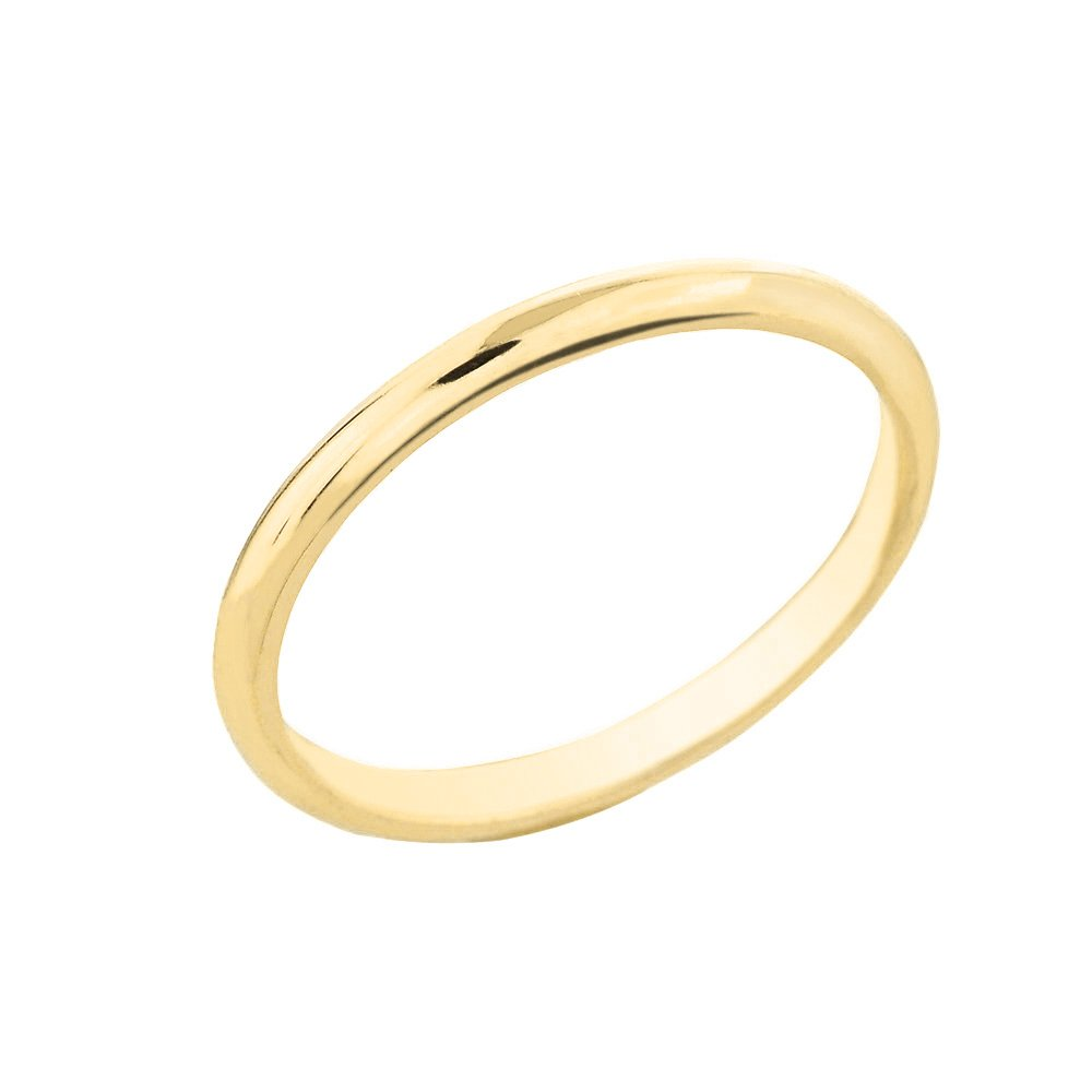 Dainty 10k Yellow Gold Comfort-Fit Band Traditional 2mm Wedding Ring for Women, Size 9.75