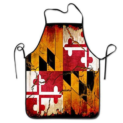 COLOMAKE Polyester Kitchen Chef Vintage Wooden Maryland Flag Apron with Long Strap Commercial Men & Women Bib Apron for Cooking Baking Crafting Gardening BBQ
