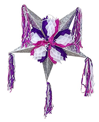Foldable Star Pinata - Purple and White - Easy to Transport and Great for Mexican Party Decorations and Kid's Parties (Donkey With Sombrero)