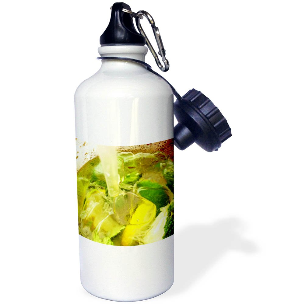 3dRose Abstract Cocktails - Image of Extreme Closeup Of A Mojito Top View Cocktail - 21 oz Sports Water Bottle (wb_256243_1) by 3dRose