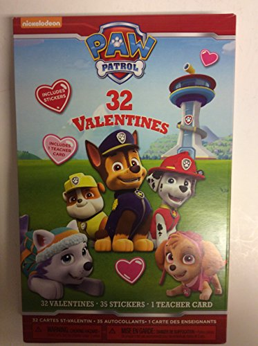 Paw Patrol 32 Valentines with Stickers and Teacher Card Photo #2