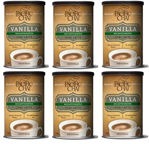 Pacific Chai Decaffeinated Vanilla Chai Latte Mix, 10-Ounce Canisters (Pack of 6) by Pacific Chai