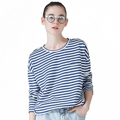 形持続する梨(トゥーユース) TOYOUTH レディース ボーダー Tシャツ ドルマン 長袖 ゆったり カットソー 青×白 XL