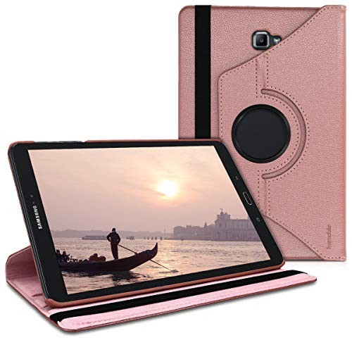 kwmobile 360° Case for Samsung Galaxy Tab A 10.1 (S-Pen) - PU Leather Protective Tablet Cover with Stand Function - Rose Gold (Bumper For Galaxy Tab S)