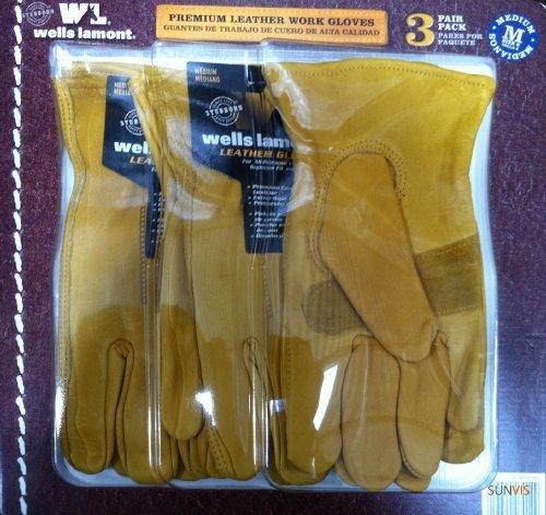 Wells Lamont Premium Leather Work Gloves 3 Pair Pack Medium