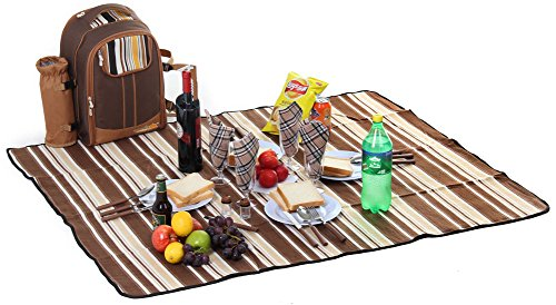 Picnic Backpack Bag for 4 Person With Cooler Compartment, Detachable Bottle/Wine Holder, Fleece Blanket, Plates and Cutlery Set Perfect for Outdoor, Sports, Hiking, Camping, BBQs(Coffee) by APOLLO WALKER (Image #6)