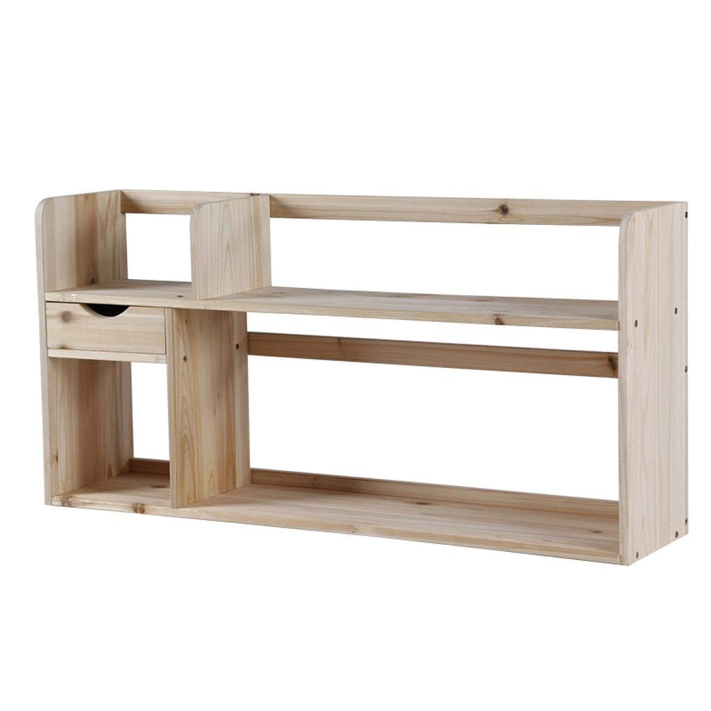 TIAN 2-Layer Solid Wood Desktop Book Rack Small Bookshelf, Simple Rack Office Finishing Storage Display Rack (Color : White) by TIAN