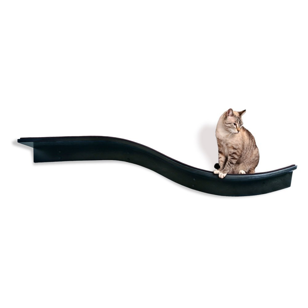 The Refined Feline Lotus Branch Cat Shelf, Sturdy Wave Design Cat Wall Perch, Wooden Comfortable Berber Carpet Faux Fur…