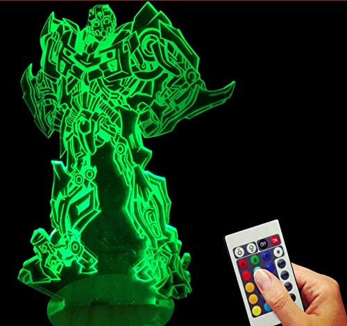 (Hnfsliuhao Three-Dimensional 3D Light Transformers Bumblebee Visual Lights Led Lamp Remote Control 7Color Night Light Gift )