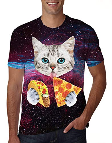 Uideazone Mens Galaxy Cat Eat Pizza Short Sleeve T-Shirt Tee Tops ()
