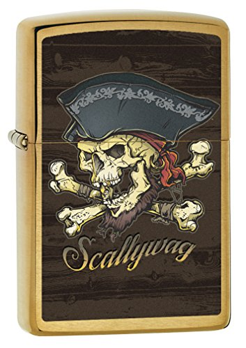 Zippo Lighter: Scallywag, Pirate Skull - Brushed Brass 77823 (Scallywag Pirate)