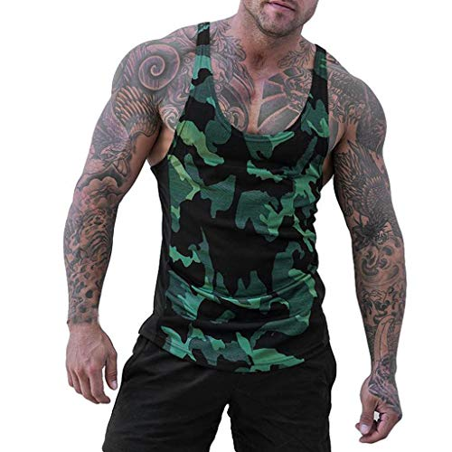 MODOQO Men Stripe Vest,Summer Camouflage Sports Slimd Tank Tops Splice Sleeveless Tops (Green,M)