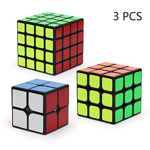 Ganowo Playwin Aloko Speed Cube Puzzle New Pack 2x2 3x3 4x4 Sticker Cube Collection (Black)
