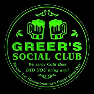 4x ccpz1426-g GREER'S Social Club Bar Beer 3D Engraved Drink Coasters