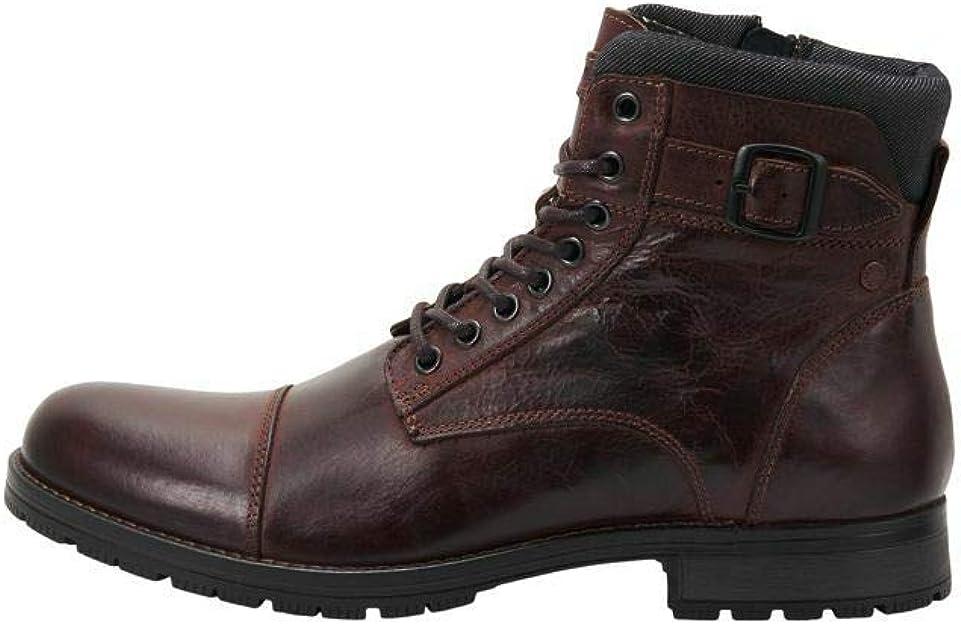 TALLA 43 EU. Jack & Jones Jfwalbany Leather Brown Stone STS, Biker Boots Hombre