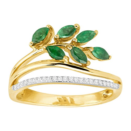 Emerald 10k Ring - 1/2 ct Natural Emerald Leaf Ring with Diamonds in 10K Gold