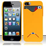 Apple iPhone 5 - 5s Case Refreshing Orange Hard Credit Card / Id Holder Cover Protector + Gift Box By Tech Accessories