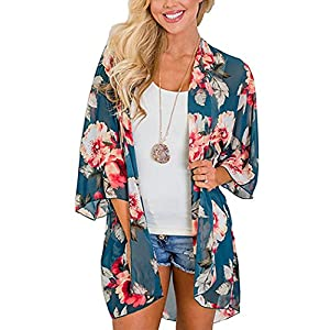 Chunoy Women Casual Floral Short Sleeve Chiffon Kimono Shawl Blouse Top