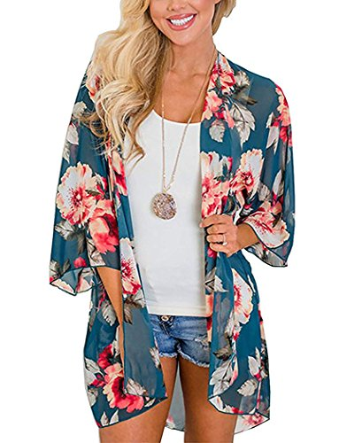 Chunoy Women Floral Print Loose Lightweight Chiffon Kimono Cardigan Short Sleeve Beach Wear Cover Up Blouse Top