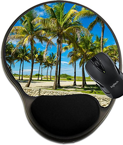 MSD Mousepad Wrist Protected Mouse Pads/Mat with Wrist Support Design 20917117 Coconut Palm Trees Along The Promenade in Miami Beach