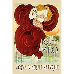 "Natural Sparkling Water Fonte Meo Acqva Minerale Naturale Italy Italia Italian Drink Vintage Poster Repro 16"" X 22"" Image Size. We Have Other Sizes Available!"