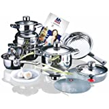Millerhaus SAS16 16-Piece T304 Stainless Steel Cookware Set with 7-Ply Bottom