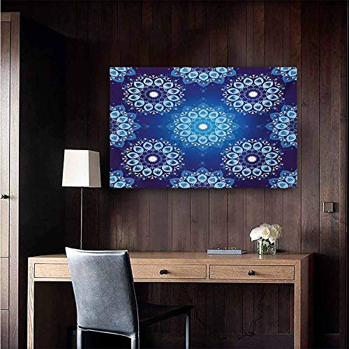 duommhome Dark Blue Art Oil Paintings Vintage Style Christmas Pattern with Lace Like Snowflake Motifs Romantic Canvas Prints for Home Decorations 20