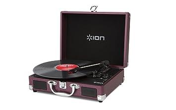 ION Audio Vinyl Motion - Giradiscos con diseño de maletín (USB, conversión digital Audio, batería recargable y altavoces estéreo), raspberry