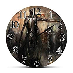 BCWAYGOD Silent Wall Clock,Fantasy World,General Leading His Army in War Medieval Armored Knight Kingdom Ancient Fantasy,Brown Non Ticking Wall Clock/Desk Clock for Office Home Decor 9.5 inch