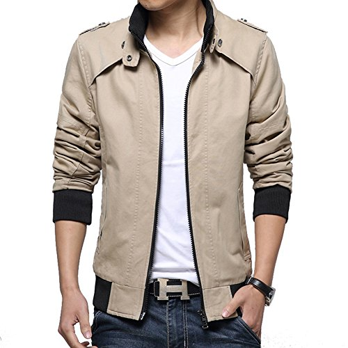 DeLamode Men Thin Spring Jacket Zipper Stand Collar Cotton Shrink Cuff Casual Coat Khaki-XXS