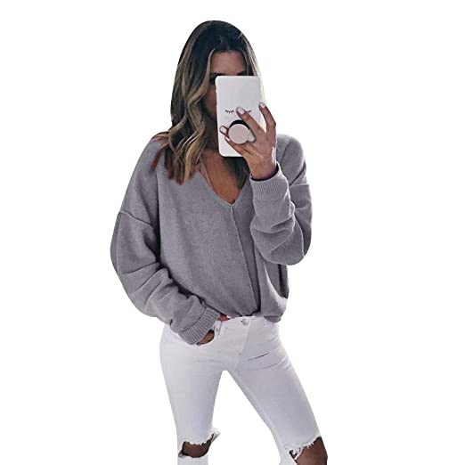 e19d8b2ac2 Amazon.com  Clearance Sale! Seaintheson Women Casual Deep V Neck Solid  Knitted Sweater Jumper Tops Long Sleeve Pullover Shirt Blouse  Clothing